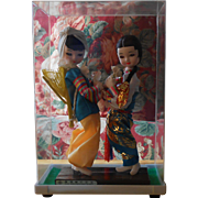 Asian Dolls in Plastic Case, Very Colorful & Sweet