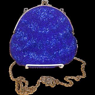 1980's Walborg Royal Blue Beaded Evening Bag