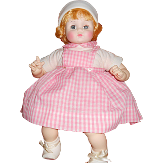 "1977 Madame Alexander's ""Little Sister"" # 3555, 14 Inches, Blond Hair Blue Eyes, Pink & White Checkered Outfit"