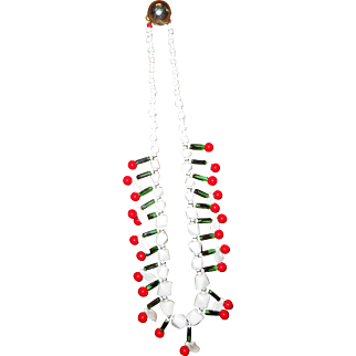 Glass Cherry Beaded Necklace 21 Inches
