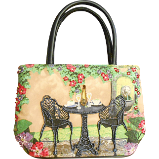 Vintage Garden Setting Beaded Handbag