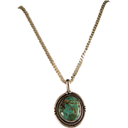 Vintage 70's Sterling Navajo Turquoise Pendant and Chain