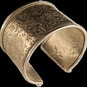 Vintage Sterling Silver Wide Hand Engraved Bracelet