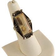 1960's Sterling Silver Handcrafted Laguna Agate Ring