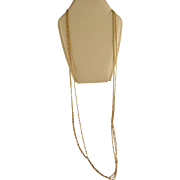 Vintage 3 Strand 14 K Gold Rope Twist Chain Necklace