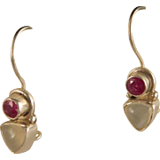 Vintage Ruby and Sterling Silver Earrings
