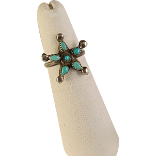 Vintage 1960's Sterling Silver Turquoise Star Ring