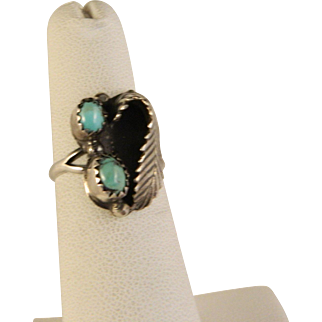 Vintage 1970's Southwest Navajo Sterling silver Turquoise Ring