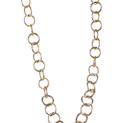Vintage Sterling Silver Round 12 mm Link Chain Necklace