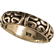 Vintage Sterling Silver Engraved Band Size 6