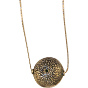 Vintage Engraved Sterling Silver Pendant and Chain Necklace