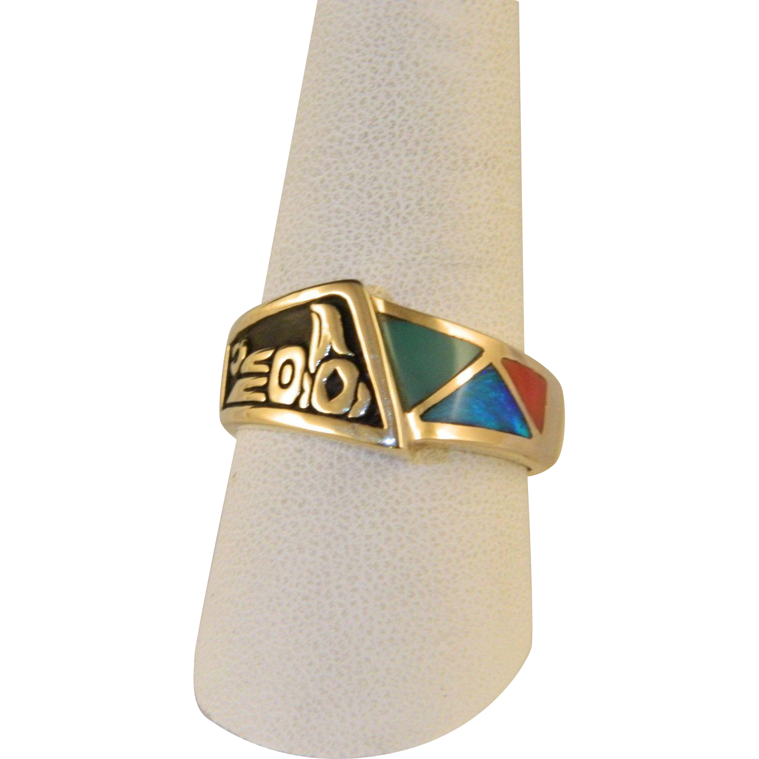 Vintage Pacific Northwest 14 K Gold Thunderbird Fire Opal Ring