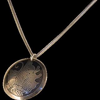 Vintage Sterling Silver Acid Etched Floral Pendant Necklace
