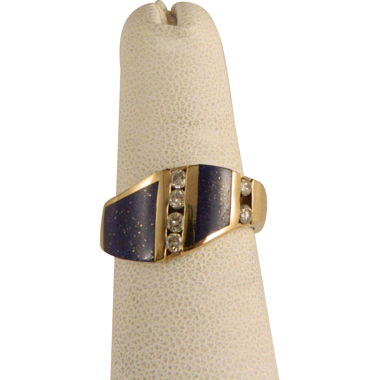 Vintage Gold Diamond and Lapis Lazuli Ring