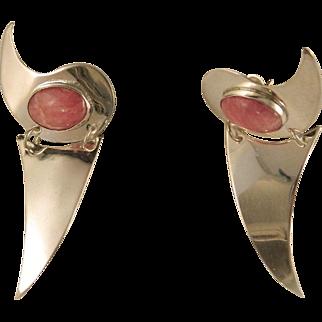 Vintage 1990's Rhodocrosite Bold Sterling Silver Dangle Earrings