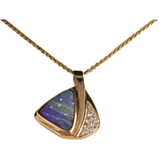 Vintage Australian Boulder Opal Gold and Diamond Sailboat Necklace