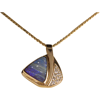 Vintage Australian Boulder Opal Gold and Diamond Sailboat Necklace