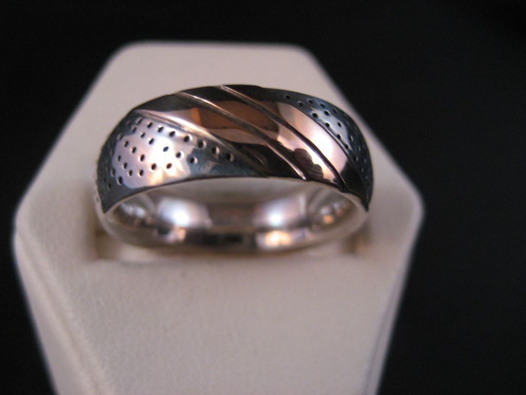 Sterling Silver and 14k Yellow 7 mm Gold Band 1980's.Comfort fit.