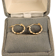 Vintage 14 K  Yellow Gold Tiny Twist Hoops 12 mm