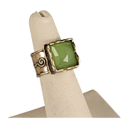 Sterling Silver Green Quartz Wide Handcrafted Ring Size 6