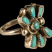 Zuni Cluster Ring Robins Egg Blue Vintage Ring Size 4.5