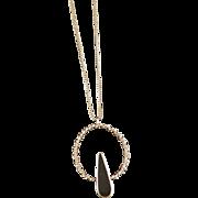 Vintage Sterling Silver Black Onyx Circle Necklace