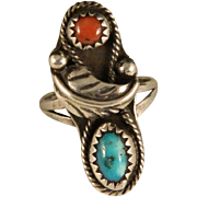Vintage 1970's Navajo Turquoise Coral Sterling Silver Ring