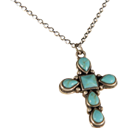 Vintage Southwest Turquoise Sterling Silver Cross Pendant Necklace