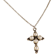 Vintage Sterling Silver Imitation  Pearl Cross Necklace