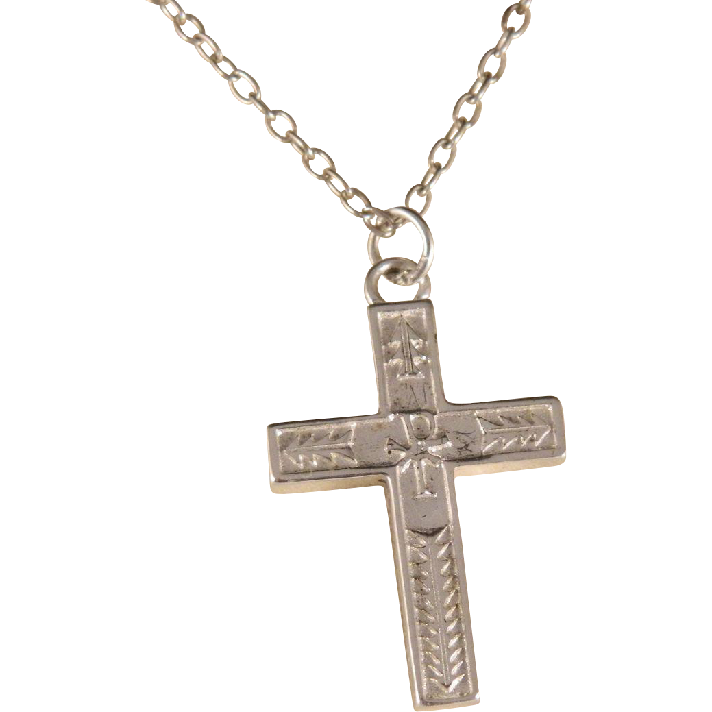 Vintage Sterling Silver Cross on Sterling Silver Chain