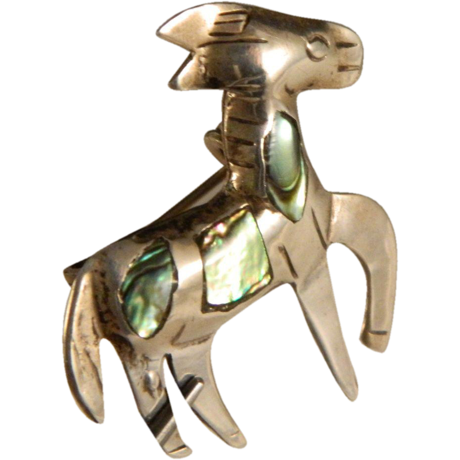 Vintage Taxco Sterling Silver Burro Abalone Pin Brooch