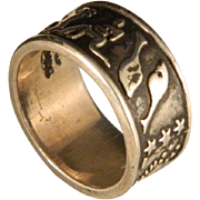 Vintage Petroglyph Cosmic Ring Wide 8 MM Band