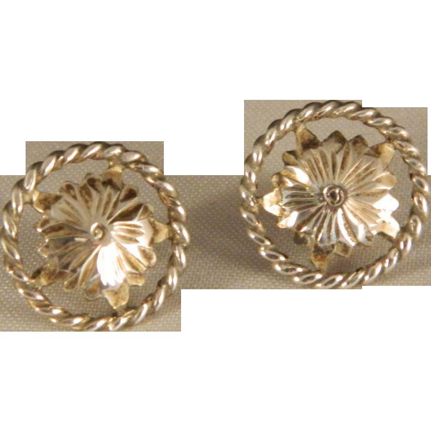 Vintage Western Style 1950's Sterling Silver Floral Post Earrings
