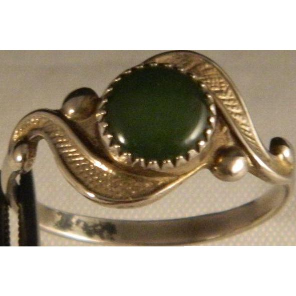 Vintage 1940's Estate Sterling Silver Jade Ring