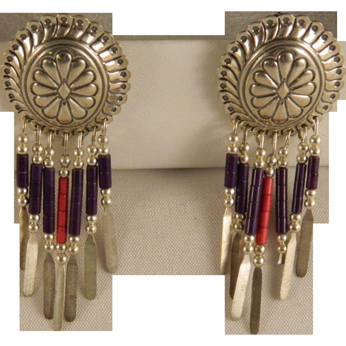 Vintage Sterling Silver Concho Dangle Southwest Earrings