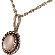 Vintage Sterling Silver Mother of Pearl Pendant and Sterling Silver Chain