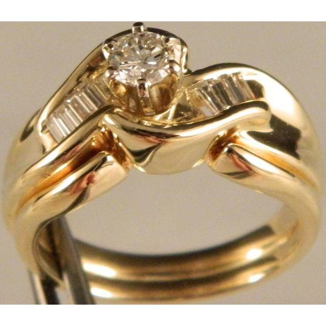 Vintage Diamond Wedding Set 14 K Yellow Gold