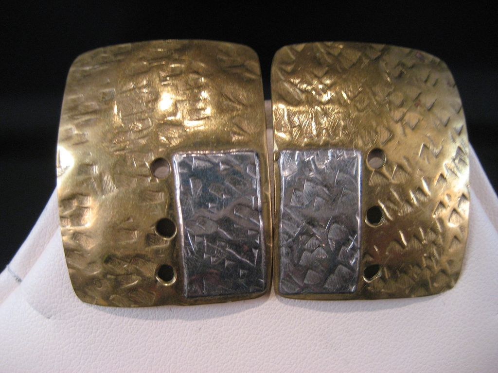 Vintage  textured Sterling Silver and Brass Earrings 1970's Crafts Movement