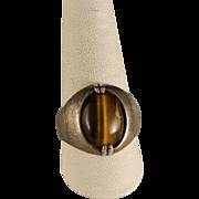 Vintage 1970's Mans  Sterling Silver Tiger Eye Ring Size 10.5