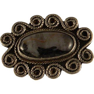 Vintage Southwest Sterling Silver Petrified Wood Brooch / Pin