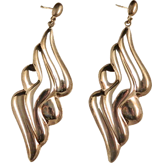 Vintage Repousse' Sterling Silver 1980's Large Dangle Earrings