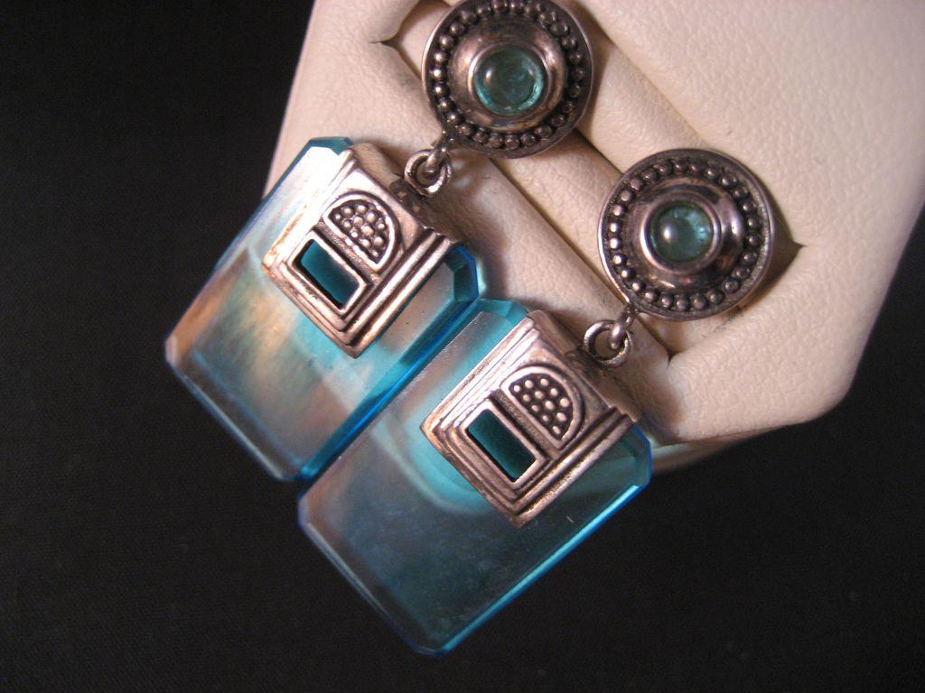 Sterling Silver Blue Topaz, Blue Glass Vintage Earrings.