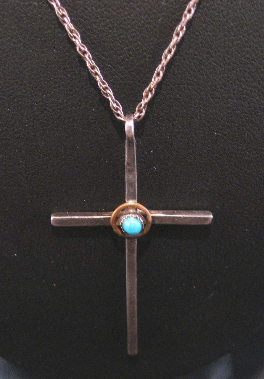 Southwest Vintage Sterling Silver and Turquoise Choker Cross and Chain.