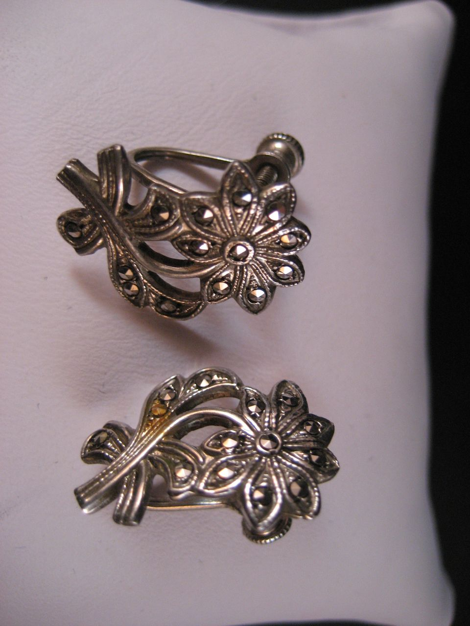 Vintage Sterling Silver Marcasite Screwback Earrings