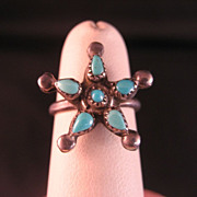 Vintage Sterling Silver Turquoise Star design Pinky Ring