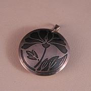 Vintage Sterling Silver Acid Etched Floral Pendant