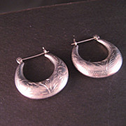 Sterling Silver Engraved Hoop Earrings
