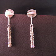 Sterling Silver Absract Designer Vintage Dangle Earrings
