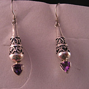 Sterling Silver Amethyst Overlay Dangle Earrings.