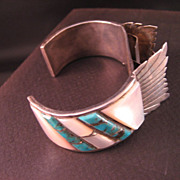 Old Pawn Zuni Watch Bracelet Turquoise Mother of pearl